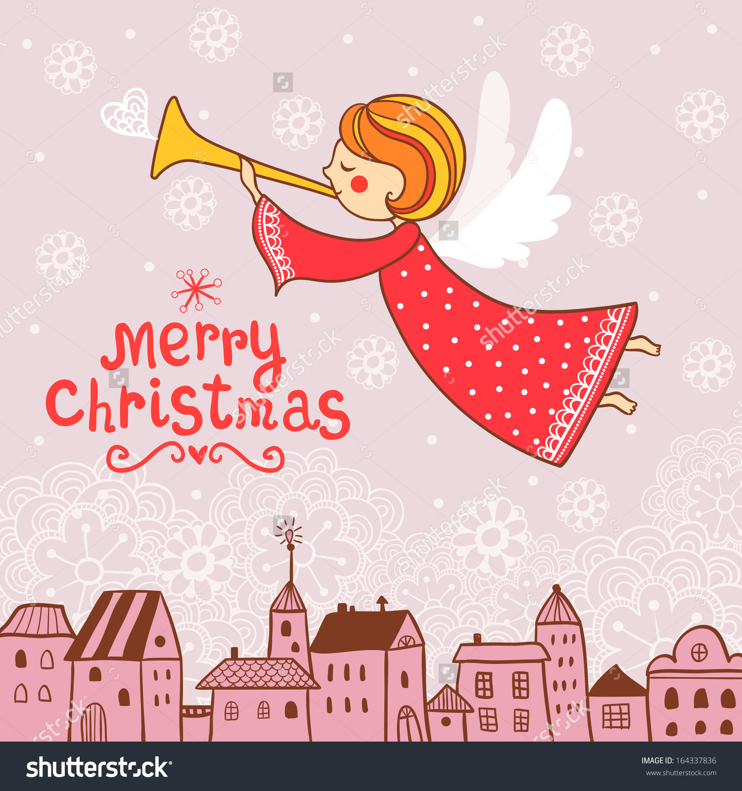 Childish Merry Christmas Card Christmas Angel Stock Vector.