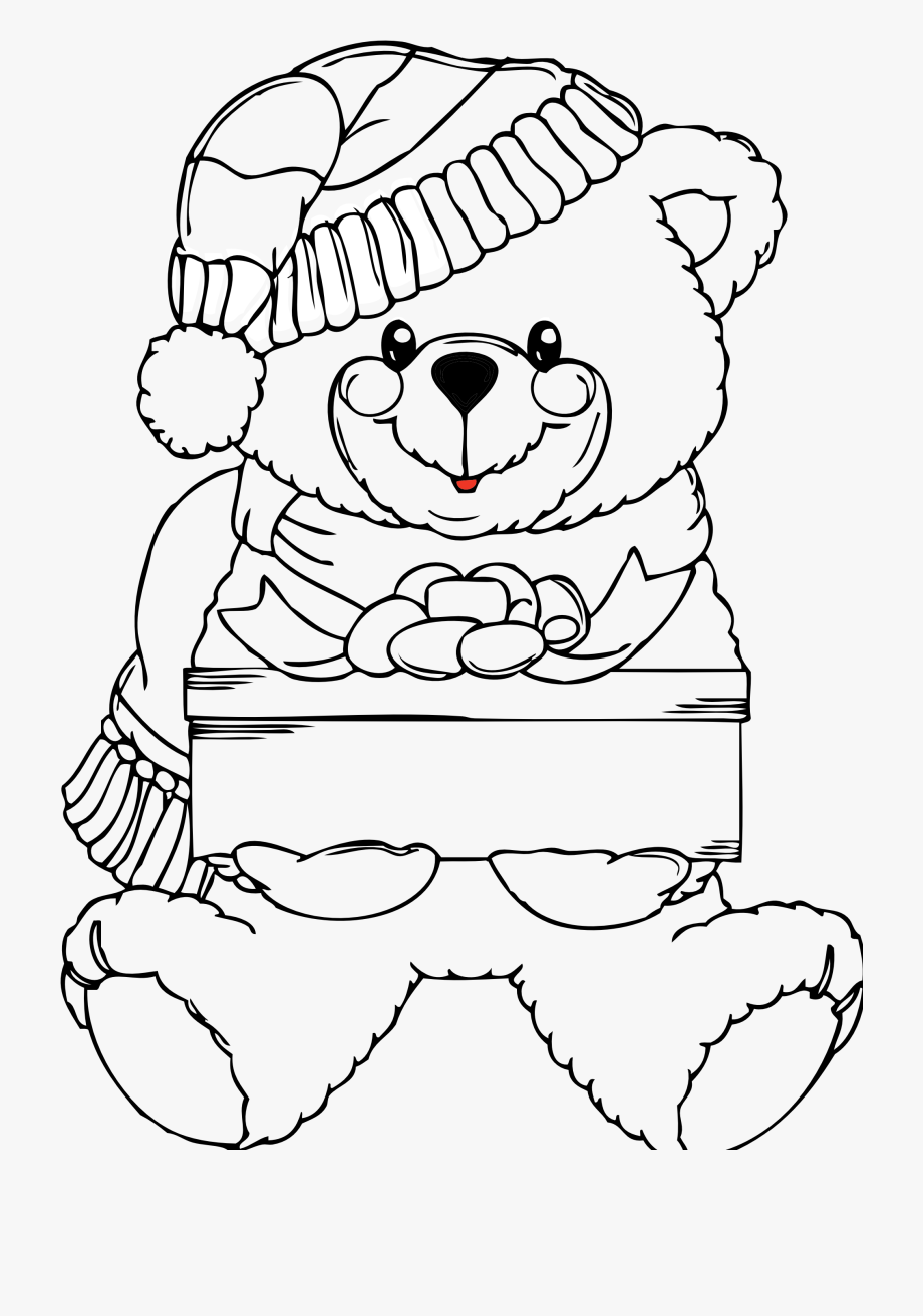 Teddy Bear Black And White Christmas Clipart Black.