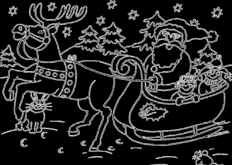 Christmas Coloring Pages Santa Sleigh , Transparent Cartoon.