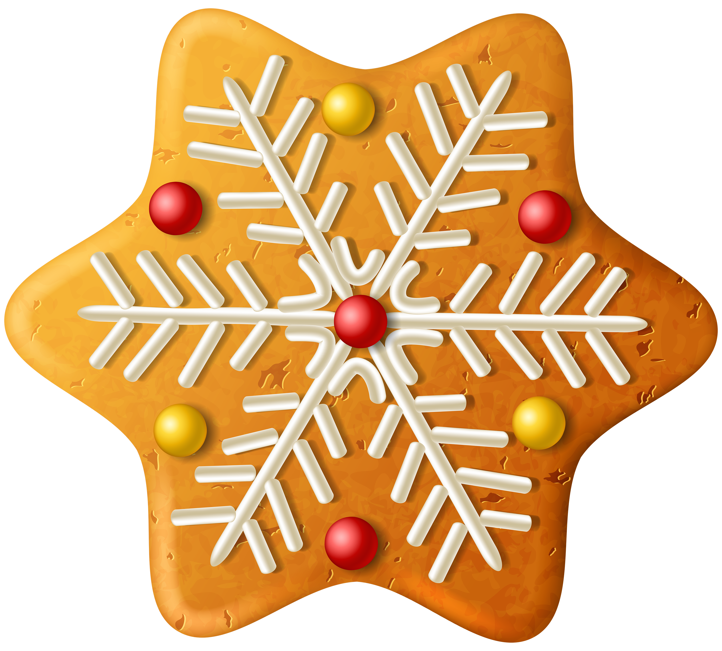 Christmas Cookie Snowflake PNG Clipart Image.