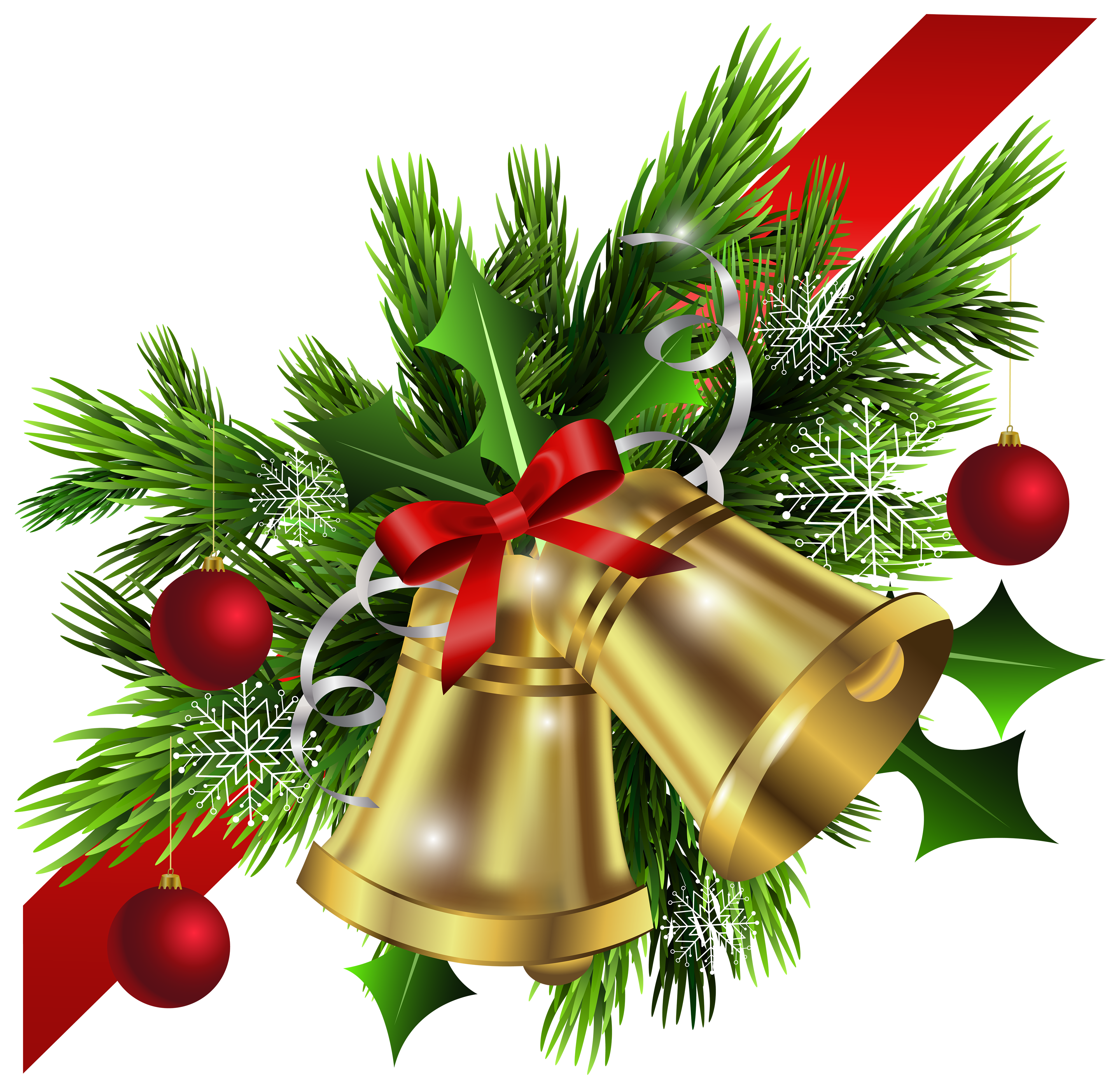 Christmas Red Bow and Bells Corner Transparent PNG Clip Art Image.