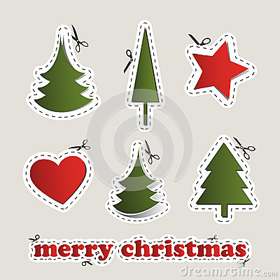 Blank Christmas Labels With Scissors Royalty Free Stock Photo.
