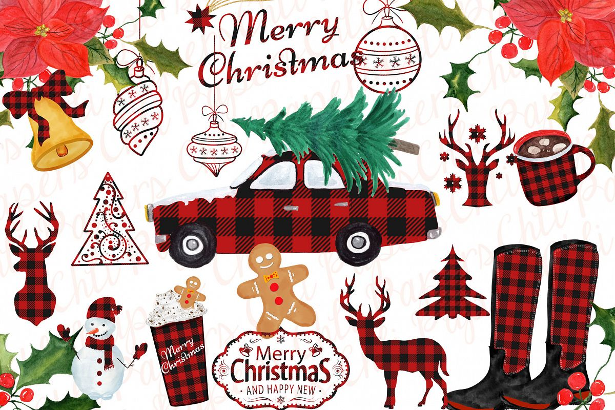 Christmas clipart Christmas car,Buffalo Plaid Lumberjack.