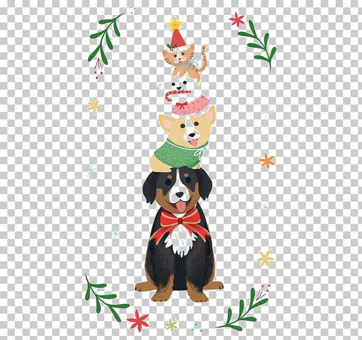 Dog Santa Claus Christmas card Illustration, Puppy pyramid.