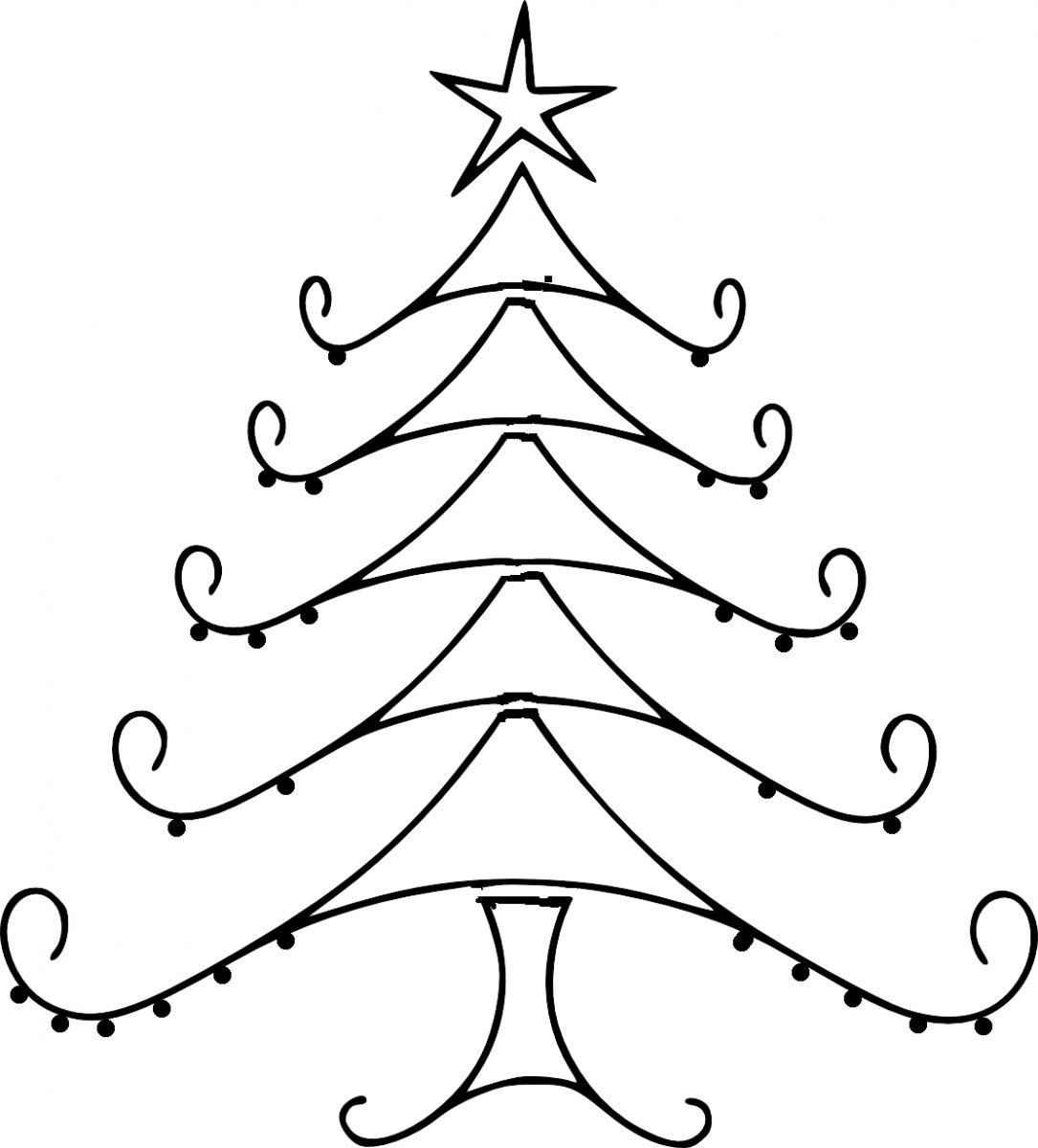 Free Christmas Tree Line Drawing, Download Free Clip Art.
