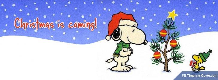 Christmas Is Coming Snoopy Peanuts Facebook Covers.