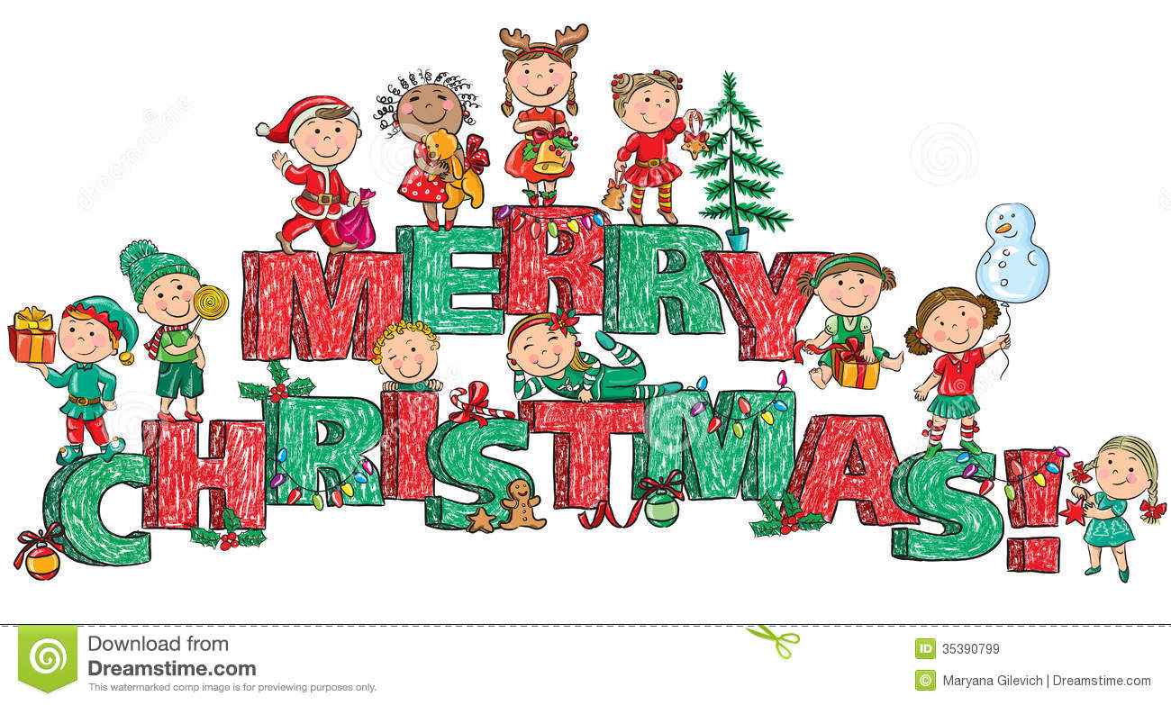 Kids At Christmas Clipart.