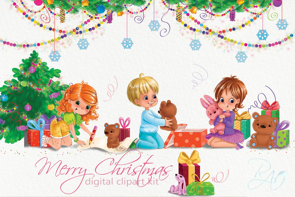 Christmas clipart set with cute kids.