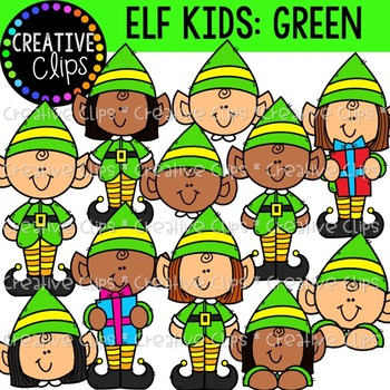 Christmas Elf Kids (Green): Christmas Clipart.