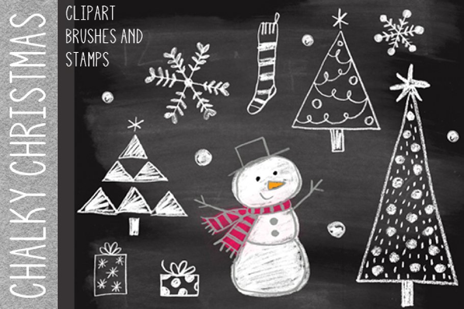 Chalky Christmas Clipart & Brushes.