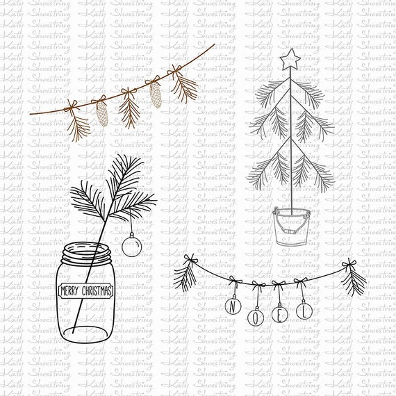 Hand Drawn Christmas Clipart / Photoshop Brushes / Vector / Mason Jar  Christmas Tree Pine Cone Bunting / Instant Download/ 4 Colors.