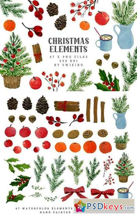 Watercolor Christmas Clipart 1070578 » Free Download Photoshop.