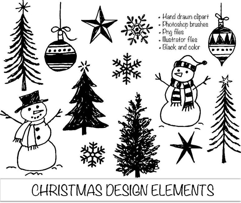 Hand Drawn Christmas Clipart. Photoshop Brushes Png and Illustrator Files.  Trees Snowflakes Snowmen.