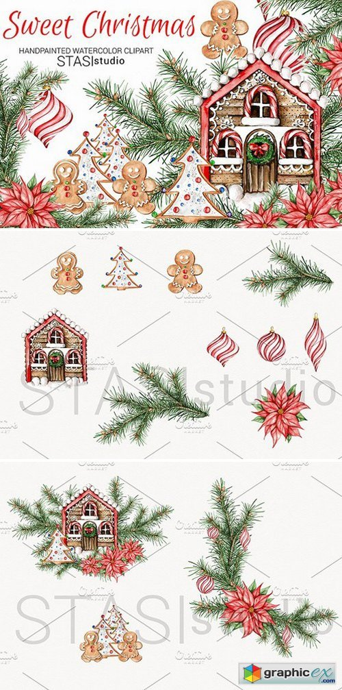Watercolor Christmas Clipart » Free Download Vector Stock Image.