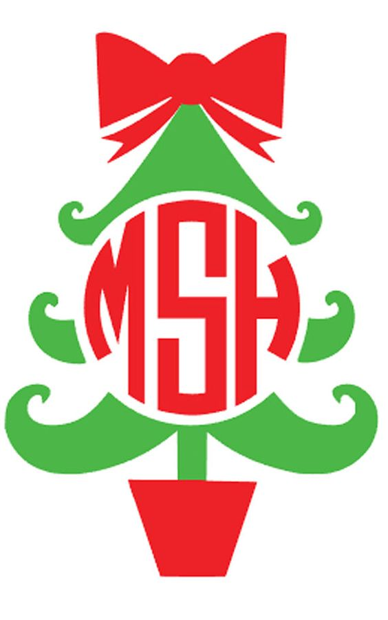 DIY Monogram Christmas Tree Iron On, Personalized Iron On.