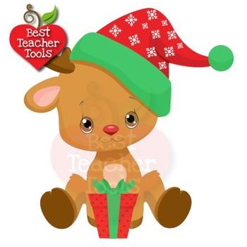 Christmas Clipart, Reindeer Clipart, Cute Baby Baby Reindeer, AMB.