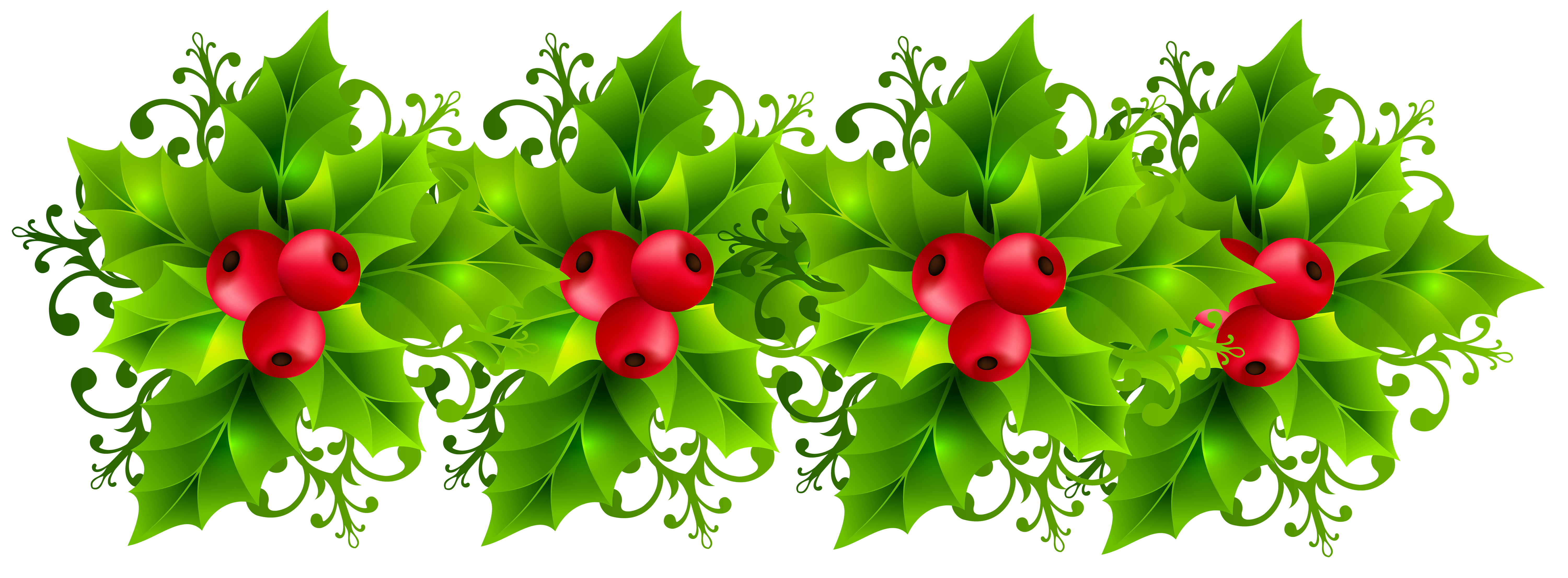 Christmas Holly Garland Transparent PNG Clip Art Image.