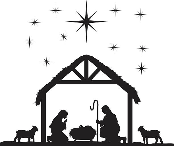 1474 Nativity Scene free clipart.