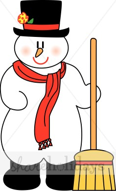 Frosty Snowman with Broom and Boots.