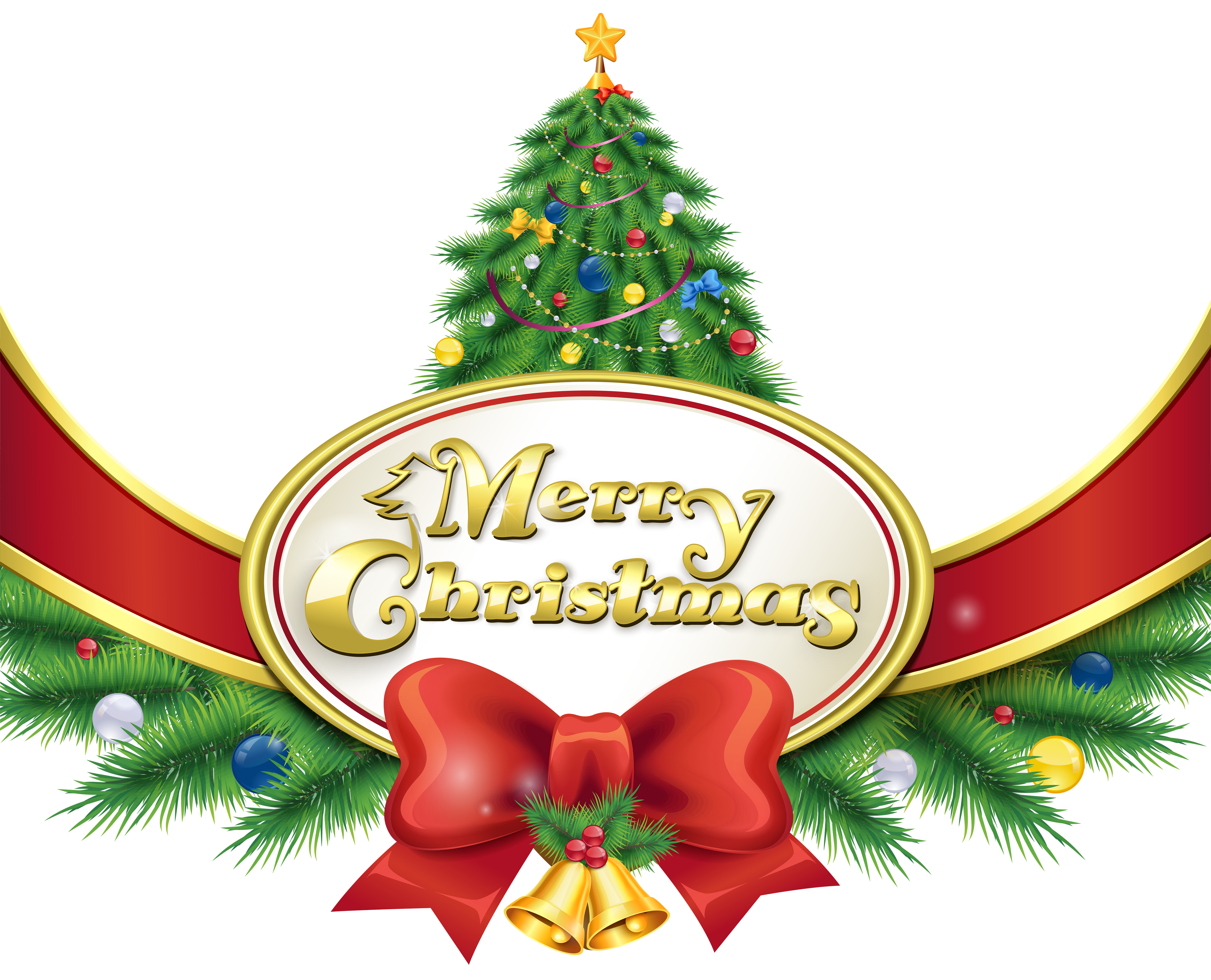 Merry Christmas with Tree and Bow PNG Clipart Image.