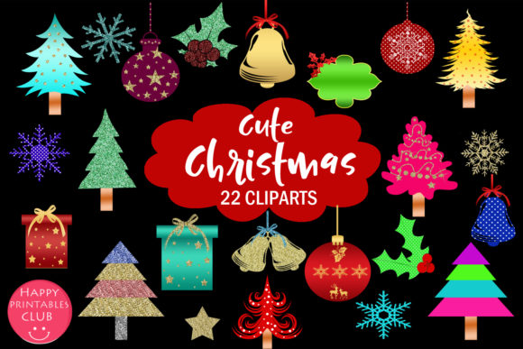 Cute Christmas Clipart Holiday Graphics.