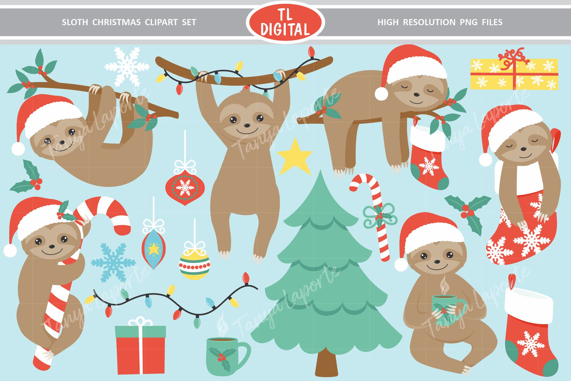 Sloth Christmas Clipart Set.