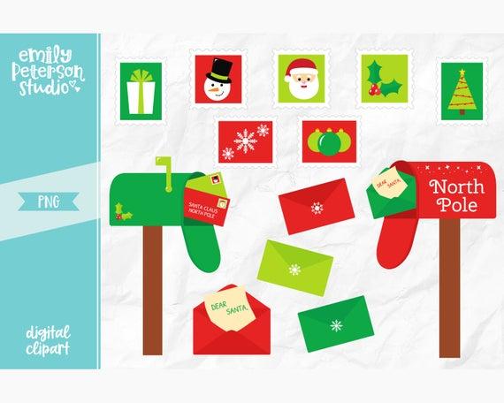 Letters to Santa Clip Art, Christmas Clipart, North Pole Clip Art.