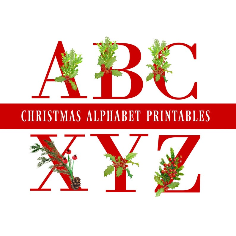 Red Christmas Alphabet Clipart, Letters Clipart, Digital Download,  Christmas Digital Letters, Christmas Banner, Christmas Clipart.
