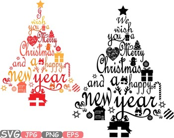 Christmas trees star Happy new Year Word Art letters calligraphy clipart.