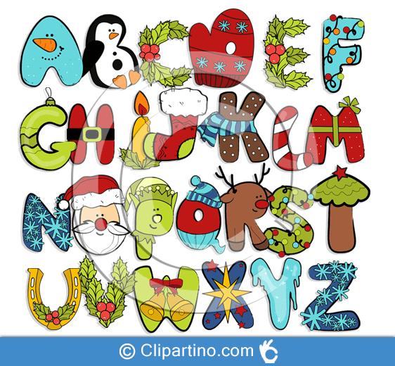 Christmas letters clipart cute alphabet.