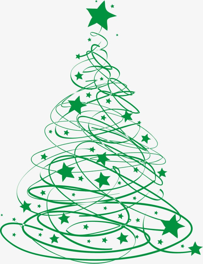 Green Christmas Tree Line, Tree Clipart, Star Clipart, Line.