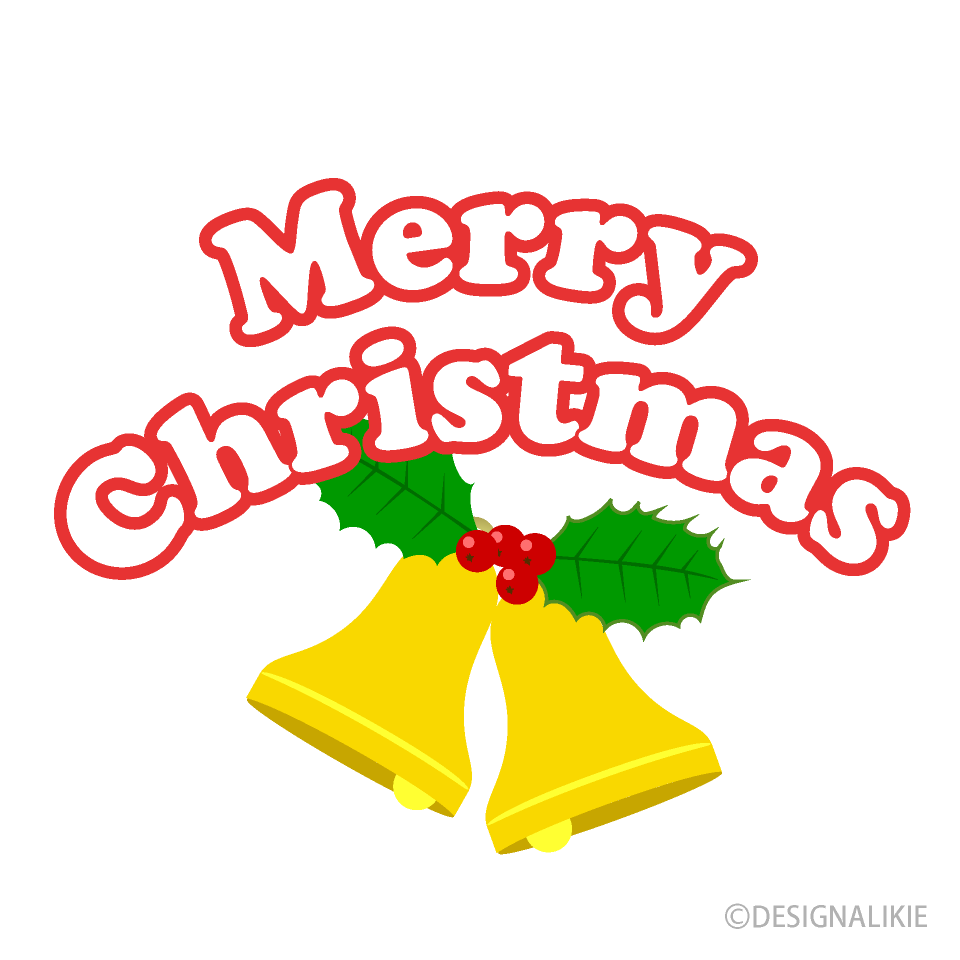 Free Bell and Merry Christmas Clipart Image|Illustoon.