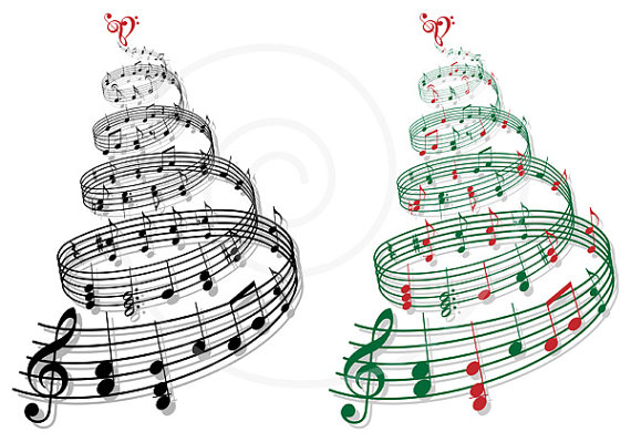 Christmas tree with music notes, printable Christmas card.