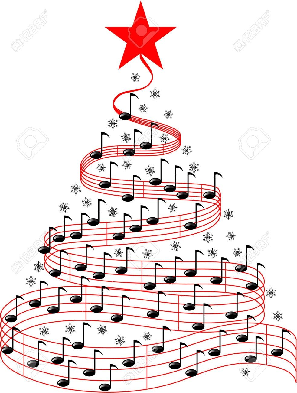New Christmas Music Clipart Design.