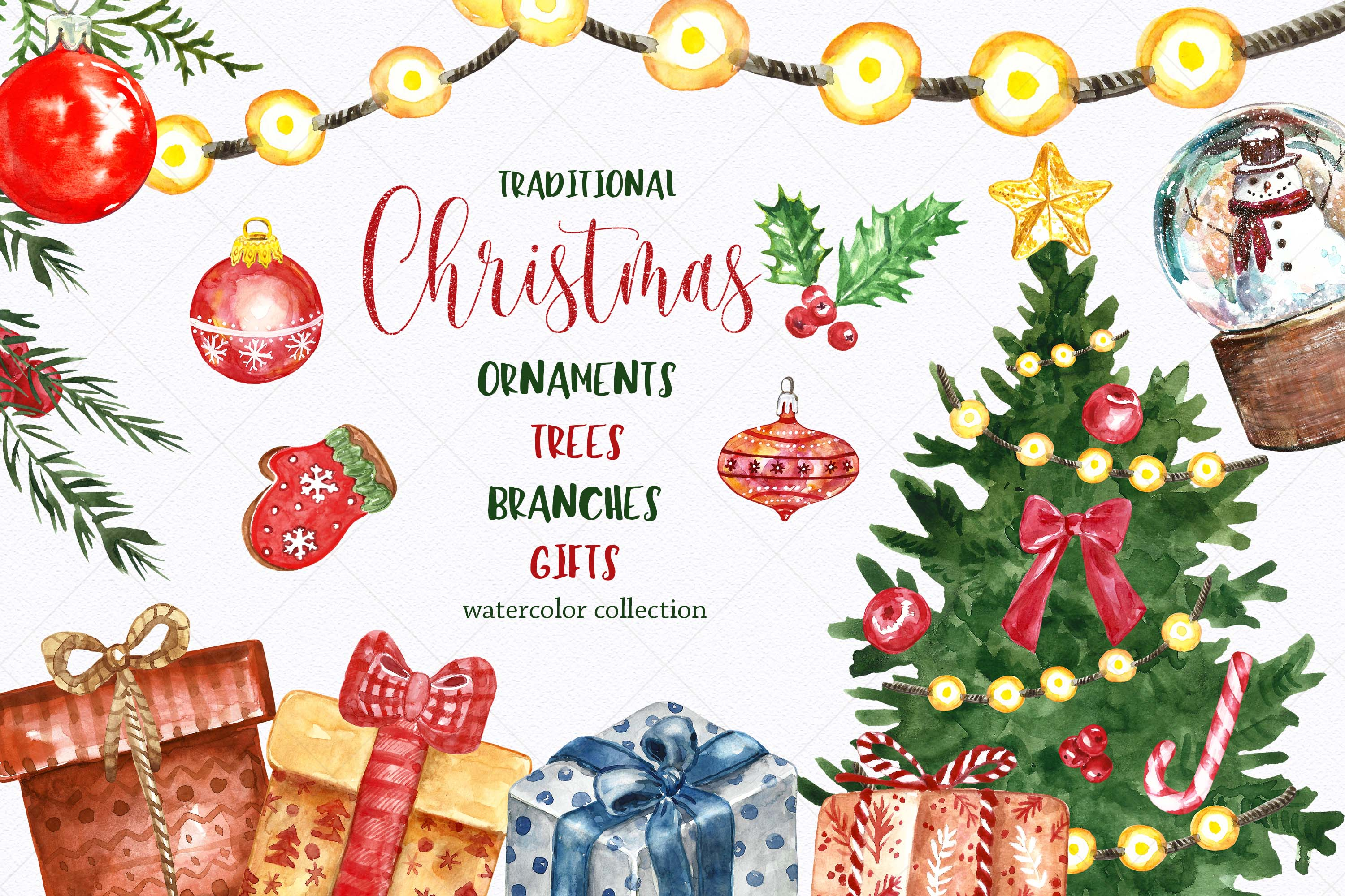 Watercolor Christmas Clipart Tree Ornaments Gift boxes.