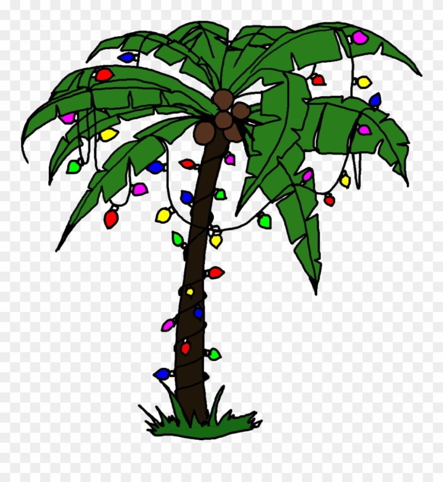 Palm Tree With Christmas Lights Art Clipart (#768615.