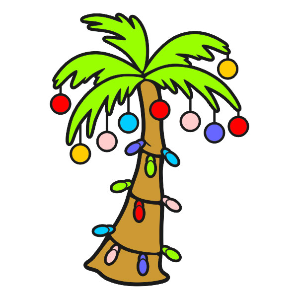 Palm Tree With Christmas Lights Clipart.