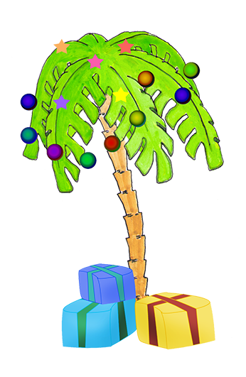 Transparent Palm Tree With Christmas Lights Clipart.