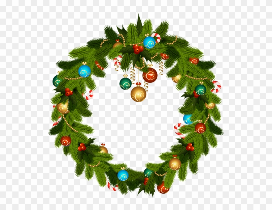 Christmas Wreath And Ornaments Png Clip Art.
