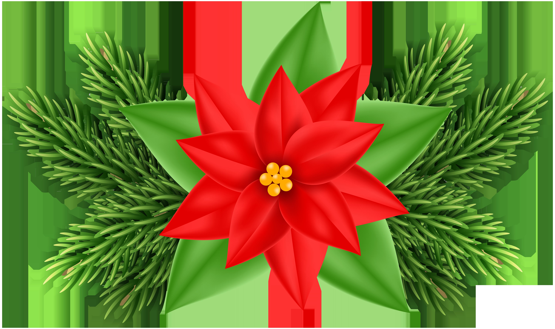 Christmas Poinsettia Deco PNG Clip Art Image.