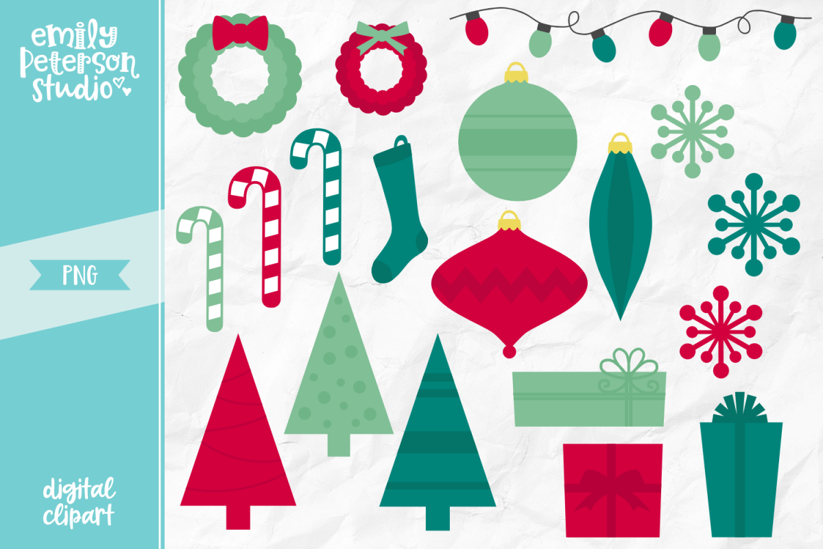 Retro Christmas Clipart Illustration PNG.