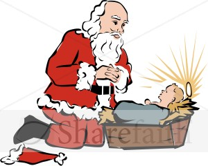 Santa and jesus clipart.