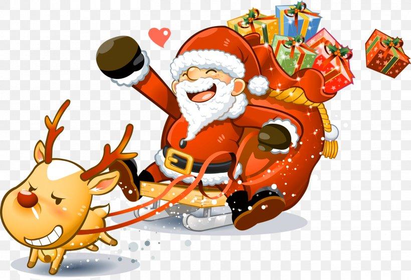 Santa Claus Reindeer Christmas Clip Art, PNG, 1463x998px.