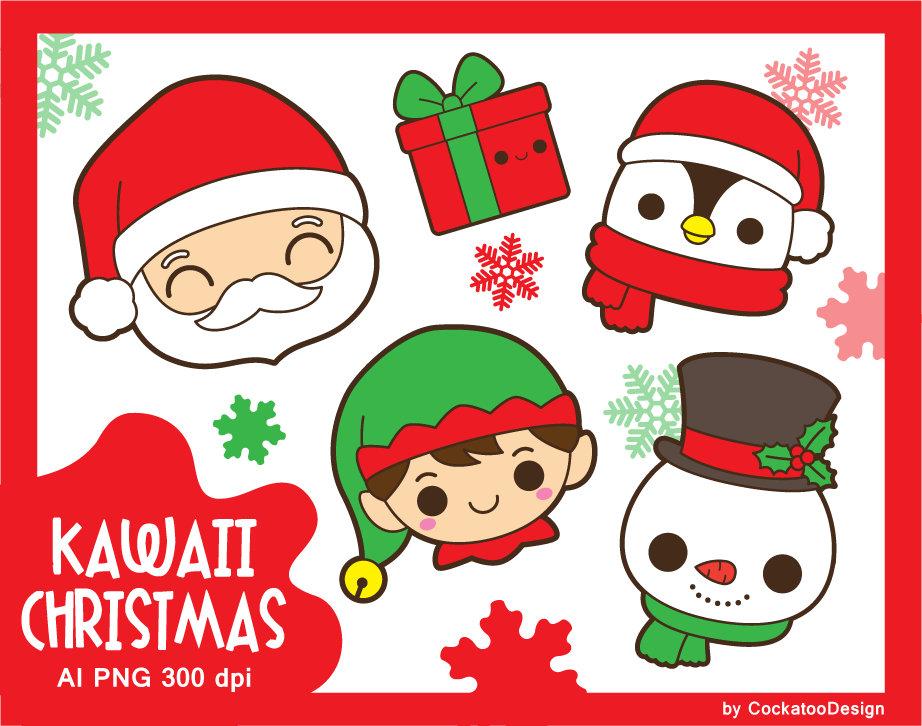Kawaii Santa Claus clipart, kawaii Christmas clipart, Santa clipart, kawaii  snowman clipart, cute elf clipart, cute penguin clipart, gift.