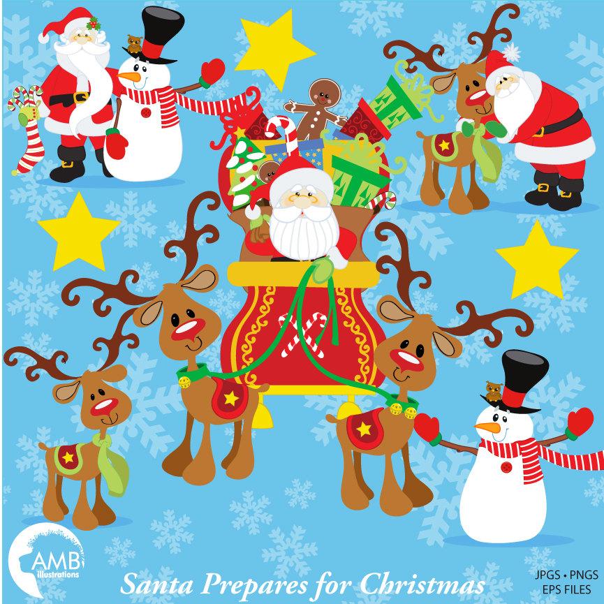 Santa Claus Clipart, Christmas Clipart, Santa and Sleigh Clipart, AMB.