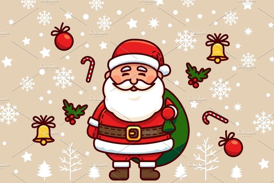 Santa Claus Vector Christmas Clipart.