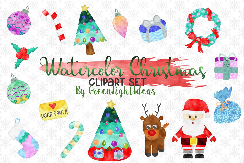 Christmas Graphic Set, Watercolor Christmas Graphics, Christmas Clipart,  Holiday Clip Art.