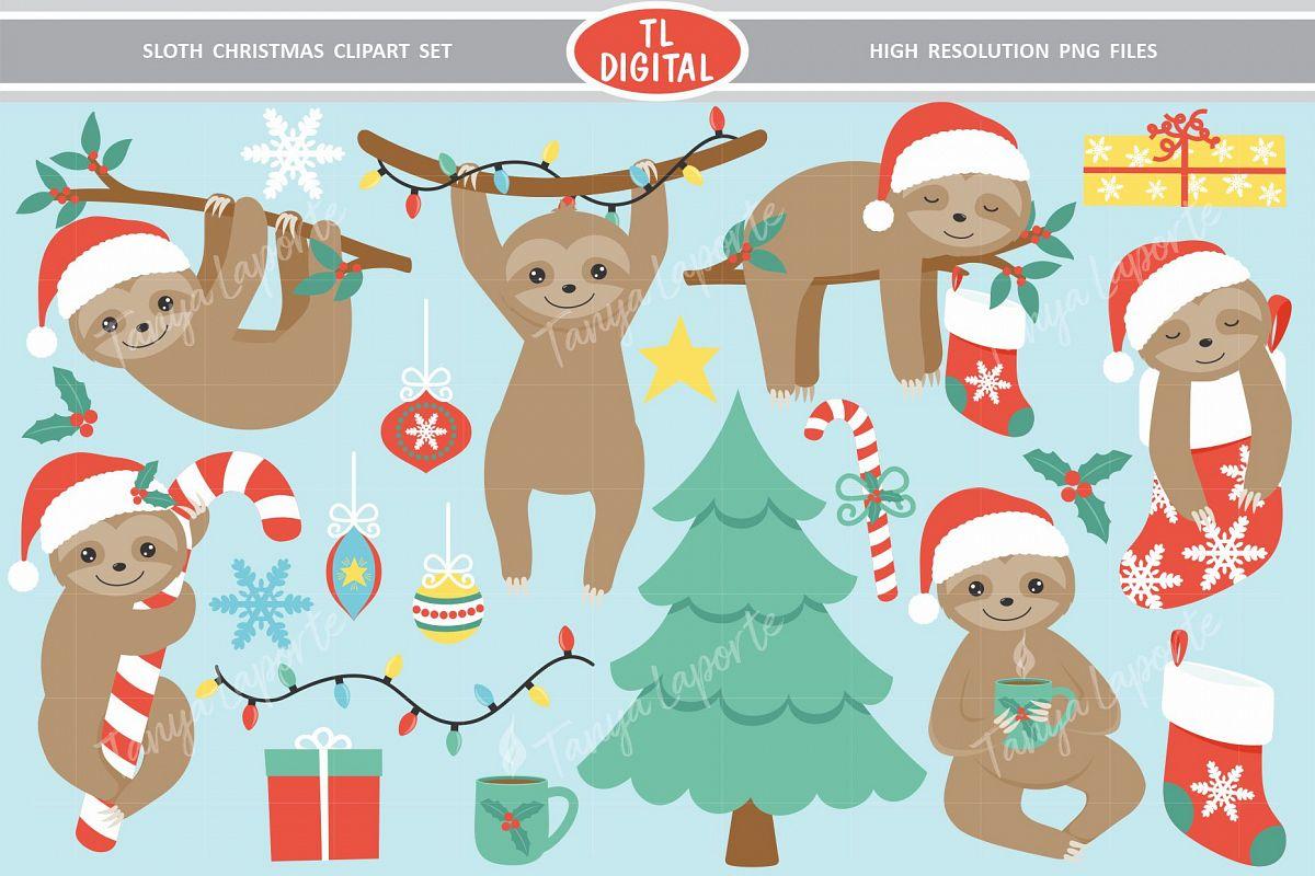 Sloth Christmas Clipart Set.