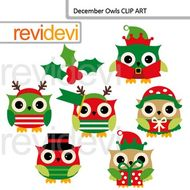 Christmas clipart: December owls clip art.