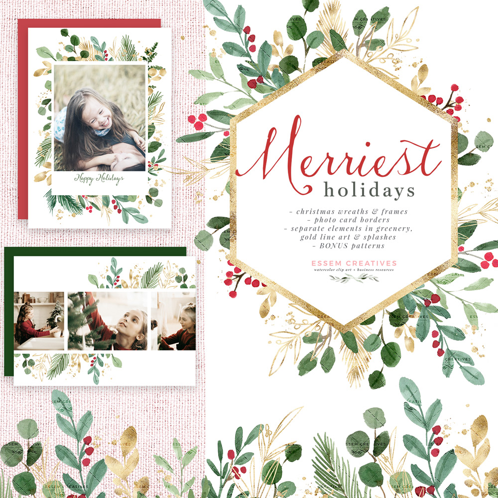 Watercolor Christmas Clipart, Wreath Clip Art, Holiday Photo Card Templates  Border Transparent Background.